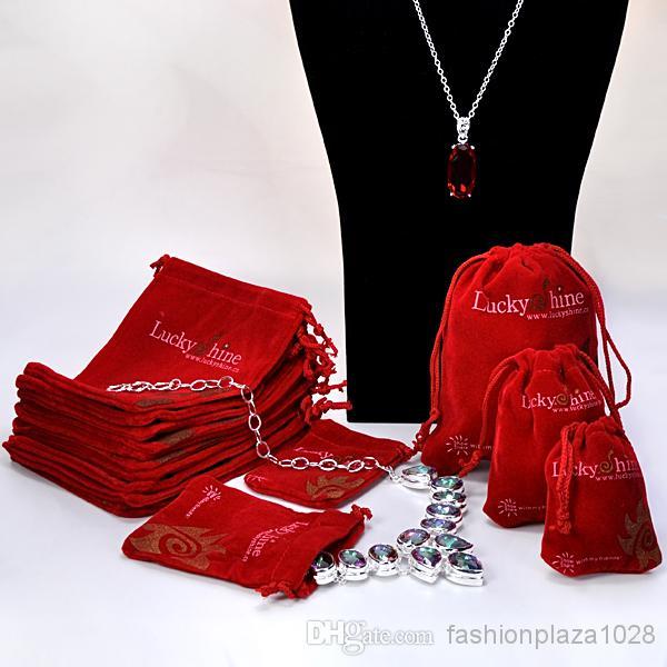 Freies verschiffen - 30 teile / los rot farbe mix größe14cm * 11 cm / 11 cm * 8 cm / 8 cm * 6 samt kordelzug schmucksack, weihnachten / hochzeitsgeschenkbeutel nur tasche