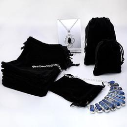 Wholesale Wholesale Gift Bags Free Shipping - Free Shipping--60 Pcs  lot Black Color mix size 14cm*11CM  11cm*8CM  8CVelvet Drawstring Jewelry Bag,Christmas Wedding Gift Bag ( Bag Only )