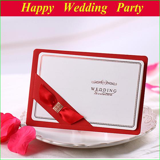 Red Wedding Card Invitation With Ribbon 2014 Design Personalized