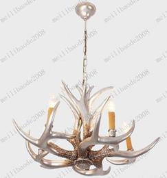 Wholesale Decorative Chandelier Light - Modern Fashion Silver Decorative Antler Resin Pendant Light Living Room Chandelier D700mm H400mm MYY7605