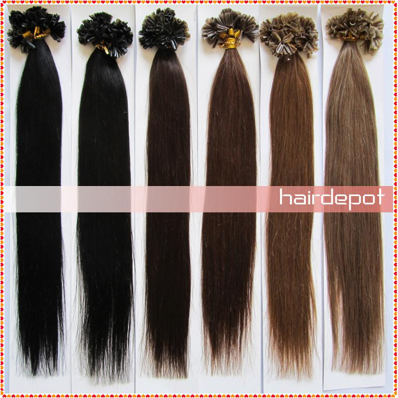 Hot Sale 2 Fusion Hair Extensions U Tip Dark Colors Silky Straight