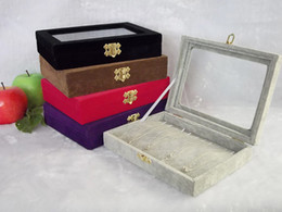 $enCountryForm.capitalKeyWord Canada - Jewelry Display Tray Glass-Top Case Necklace Bracelet Chain Display Holder Box Black Color SMALL SIZE TRAY black velvet