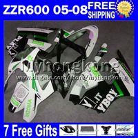Wholesale Kawasaki Zzr 636 Fairing Kit - Fairing Kit+7gifts playboy For KAWASAKI NINJA ZZR600 2005 2006 2007 2008 MY13303 ZZR-600 black green ZZR 600 636 Custom ZX636 05 06 07 08