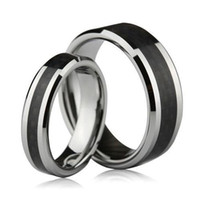 S5Q 8MM Tungsten Carbide Fibra de Carbono Unissex Wedding Band Ring Mens Ladies Gift AAAALI