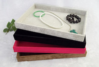 Wholesale jewelry display gray velvet - New Arrival 2014 Ice Velvet Stackable Grey Jewelry Display Tray Jewelry Storage Boxes Display Gray Black Rose Red Brown Color Free Shipping