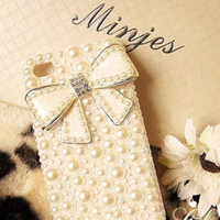 Wholesale Pearl Iphone 4s Case - S5Q Bling Bowknot Crystal Diamond Pearl Case Cover Skin Protector For Apple 4 4S AAAAXR