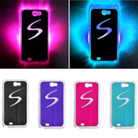 Wholesale Galaxy Note Ii Pink Case - S5Q LED Flash Light Hard Case Skin Protector For Samsung Galaxy Note 2 II N7100 AAACCE