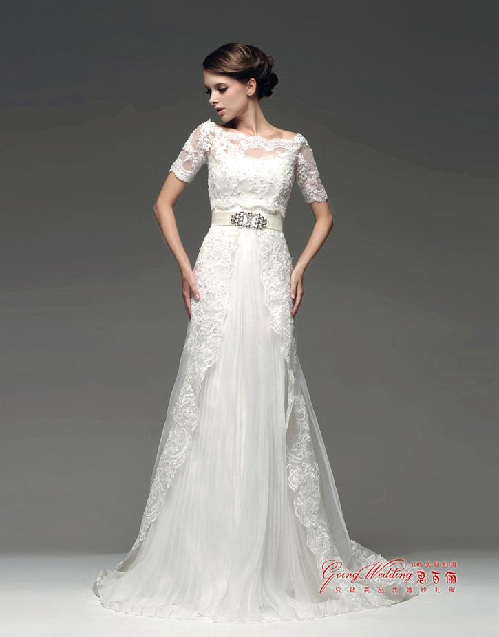 2014 Two Piece Design Beaded Lace Tulle with 1/2 Sleeve Jacket Bolero Wedding Dresses A Line Wedding Gown