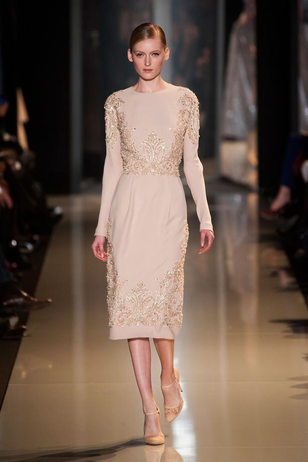 Beautiful Sheath Tea Length Chiffon Short Evening Dresses Long Sleeve Discount Evening Gowns Sequins Beads Crystal Formal Elie Saab