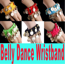 Wholesale Arm Belly Dancing - Free EMS DHL 300pcs Mixed Colors Belly Dance Wristband Belt Handmade Arm Chain Armband Foot Chain Coin Wrap Gold Coins Christmas Gift