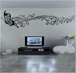 Wholesale Cheap Vinyl Wholesale - Children Room Decoration Wall Stickers Classic Music Butterfly Style Home Decoration PVC Vinyl Wall Sticker removed Pop Sale Cheap New