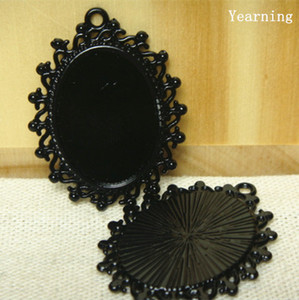 Wholesale Yearning Retro Oval Black Base Setting Tray Pendant Charm Border Decorated Flower mm Fit Cabochon Picture Cameo