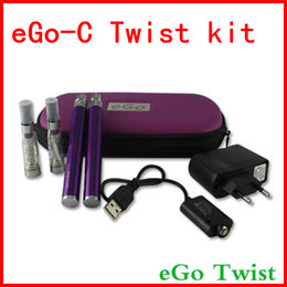 Wholesale E Cigarette Carry - New eGo-C Twist double Kit Variable Voltage 3.2V-4.8V E-Cigarette CE4 atomizer 650mah 900mah 1100mah Battery in Zipper Carry Case DHL Free