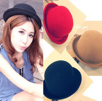 Wholesale Red Bowler - S5Q Free Shipping Vintage Style New Women's Men's Roll Brim Bowler Derby Hats 8 Colors AAABDJ