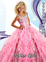 concurso para la venta al por mayor-2018 Girl's Little Pageant Dresses Niños Vestidos del desfile Glitz Ball Gowns Floor Length Pageant ON Sale R6454