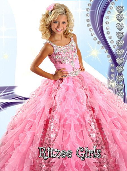 2018 Little Girl Pageant Dresses Kids Pageant Gowns Glitz Ball Gowns Piano Lunghezza Pageant ON Sale R6454