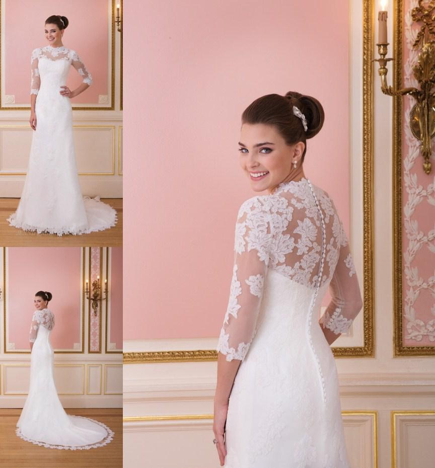 2014 Sheer High Round Neck Wedding Dresses Appliqued Half Sleeve ...