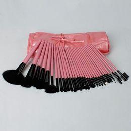 Wholesale Stems Bag - 32 pcs Pink & Black Makeup Brush Set with Bag Nylon Bristles Wooden Stems