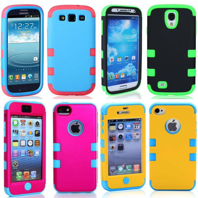 07180b20d41408 Cell Phone Cases For Iphone 5C Iphone5 5 Iphone 4 4S Samsung Galaxy S4 S3  Shockproof Cases Hybrid Silicone Skin Plastic Shell Bedazzled Phone Cases  Cell ...