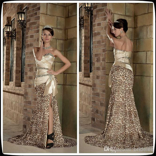 2016 Champagne Sweetheart Sleeveless Leopard Print Mermaid Long Prom ...
