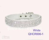 Wholesale Dog Harness Diamonds - Wholesale - Pet Dog Cat Collars Leads Colorful Rhinestone diamond PU Leather Crocodile Pattern White S M L