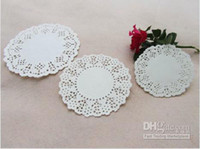 """Wholesale Grease Paper - Wholesale - 3""""4""""5"""" White Paper Round Lace Doilies Paper Grease Proof Plate Table Pad 120pcs lot"""
