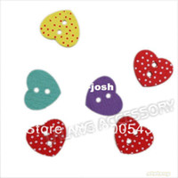 Wholesale Sew Assorted Button - 750pcs lot Fashion 2-Holes Heart Color Assorted Flatback Eco-Friendly Wood 15*13*3mm Buttons Fit Sew On Craft Clothes 112517