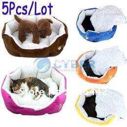 wholesale house products 2019 - Wholesale - 5Pcs Lot Hot Sale Pet Product,Pet Dog Puppy Cat Soft Fleece Warm Bed House Plush Cozy Nest cheap wholesale h