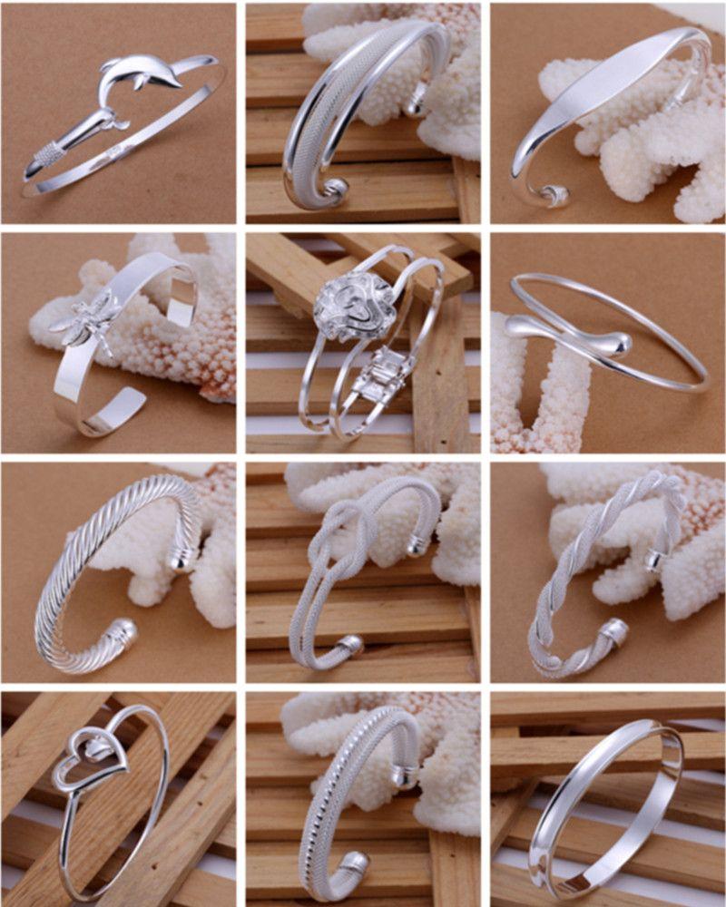 / Mix Style Mode Bracelet Bracelets Bijoux 925 Argent Brillant Femmes Bracelets Bracelets Chaud