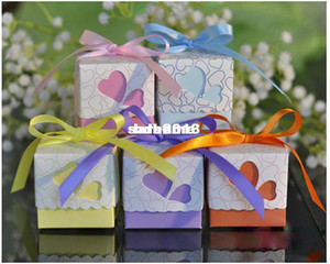 Wholesale Popular Model Wedding Favors Candy Box Purple Pink Blue yellow orange Heart Design Favor Box