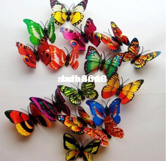 Wholesale - Hot& free shipping 100pcs 3D Double Wing Artificial Butterfly for Wedding Decorations Wedding Favor Home Decoration