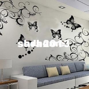 Vente en gros - 70 * 50cm noir vigne fleur papillon amovible Wall Sticker Home Decor Art Decal