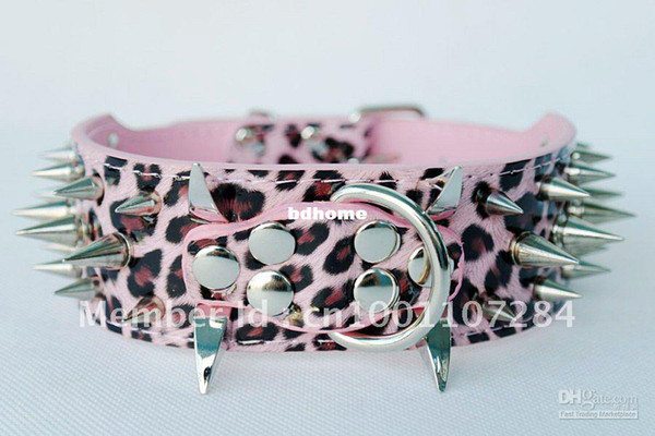 Großhandel - 2inch Breite Neck17-20inch Leopard Leder Spiked Hundehalsband für große Hund Pitbull Mastiff Terrier Bul