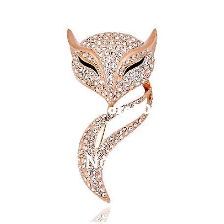 Envío gratis, aleación de calidad superior 18 K oro austriaco Crystal Fox broches, Rhinestone broche Pin mujeres ramillete al por mayor
