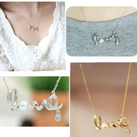 Wholesale White Twisted Pearl Necklace - Hot Sale Wholesale Fashion Silver Golden Plated Twist Love Pearl Choker Pendant Necklace For Women Jewelry Bulk Lots Free Shipping LR380