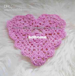 Wholesale Wholesale Heart Doilies - Wholesale - Free shipping DD03016 Handmade Crochet Heart Coaster Doily 100% eco friendly cotton
