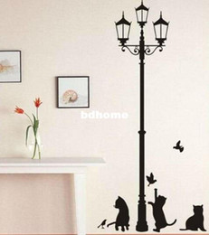 $enCountryForm.capitalKeyWord Canada - Wholesale - Free shipping Popular Removable Black Cats Lamps For House Decor Wall Stickers Wall Mural Vinyl stickers DM0100