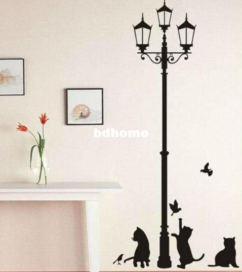Wholesale - Free shipping Popular Removable Black Cats Lamps For House Decor Wall Stickers Wall Mural Vinyl stickers DM0100