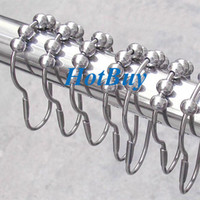 Wholesale rollerball shower curtain hooks resale online - Polished Satin Nickel Rollerball Shower Curtain Rings Curtain Hooks x4cm
