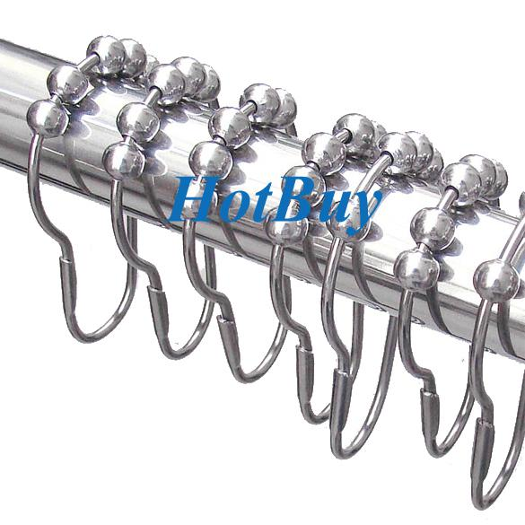 Polished Satin Nickel 5 Rollerball Shower Curtain Rings Curtain Hooks #1706