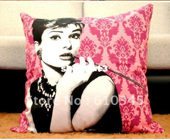 wholesale Free Shipping! moden Linen coon pillow cover cushion cover Marilyn Monroe pillow cover 60cmx60cm grey cw 2pcs/lot