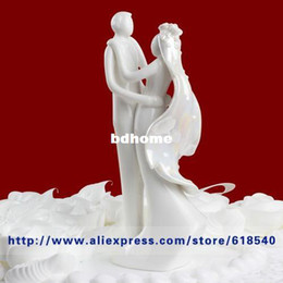 Wholesale Topper Cake Ceramic - Wholesale - Free Shipping Ceramic White Bride and Groom Design Cake Topper Wedding Decoration