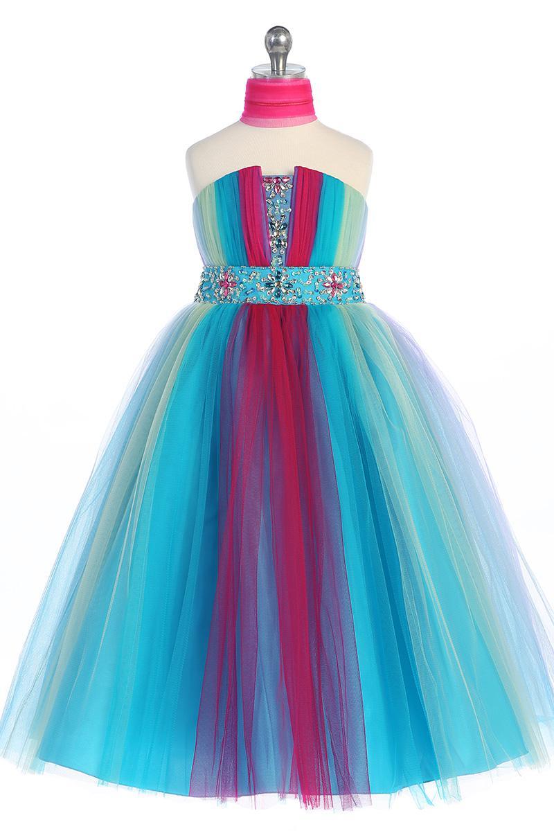 Lovely Rainbow Tulle Strapless Flower Girl Dresses Girls' Pageant Dress Birthday Skirt Size 10 12 TF1205002