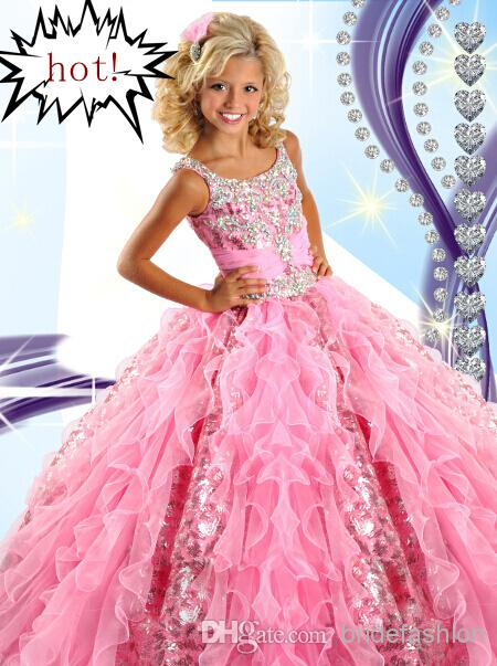 2014 Hot Selling Pink Girl's Pageant Dresses Princess Ruffle Beaded Tiered Organza Girl's Formal Dresses