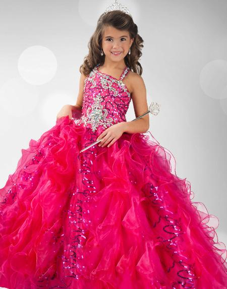 Pageant Dresses 2014 Princess Spaghetti Sequins Shiny Princess Ball Gown Flower Girl Dresses RG6347