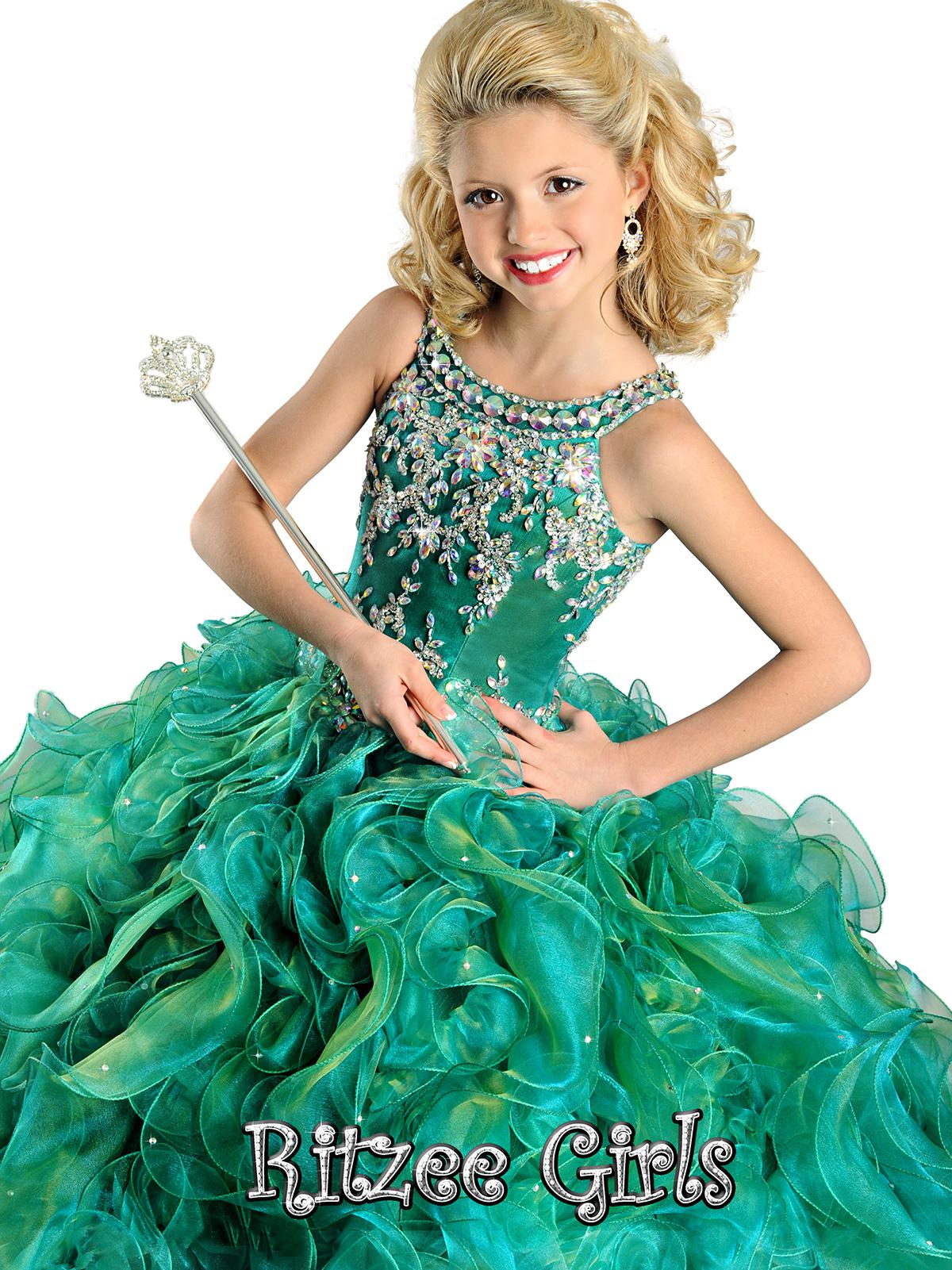 2014 New Arrivals Spaghetti Beads Ballgown spaghetti kids Party Prom dresses Ritzee Girls Pageant Dress Style