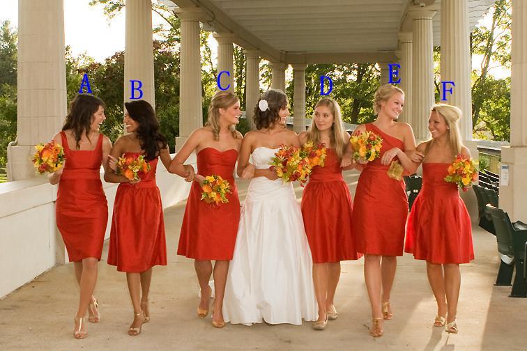 Varm försäljning sex stilar Klassisk knä längd yngre brudtärna klänningar med sash ärmlös taffeta party klänning formell klänning för bröllop