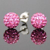 Wholesale Swarovski Rhinestone Silver Balls - Wholesale - 24 pairs Muti-colors Sparkle Round Swarovski Crystal Ball Stud Earrings for Wedding Party