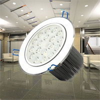 Wholesale Downlight Spotlight Fixture - 18W LED Ceiling Light LED Downlight AC85-265V Silver White Cool White Warm White Spotlight Lamp Recessed Lighting Fixture 20pcs lot Freeship