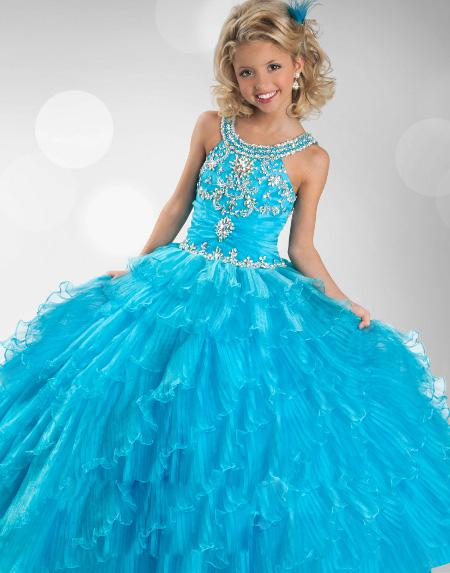 2014 Top Selling New Organza Sleeveless Ruffles Layered Rhinestone Flower Girl Ball Gown Pageant Dresses